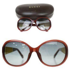 GUCCI Logo Sunglasses Eye Wear Plastic Burgundy Gold GG 3706FS 3JAHD 60JE211